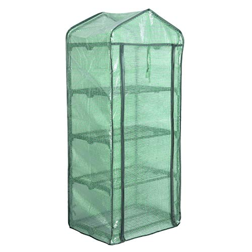 WOLTU Garden Greenhouse Plastic Tomato Greenhouse Vegetable Fruit Flower Plant Shed with Strong Reinforced Cover 69x49x158cm Green GWH00402gn