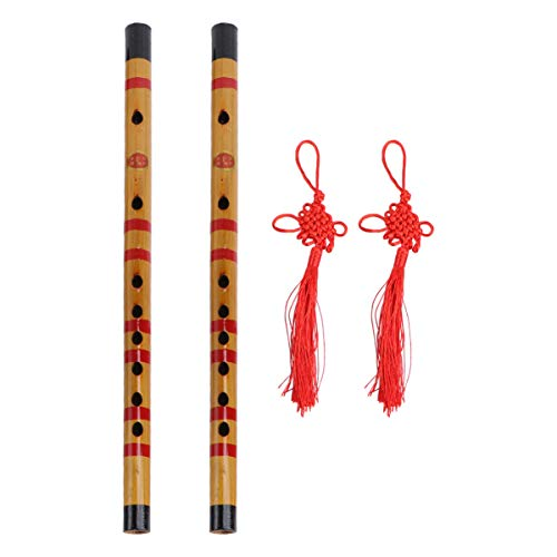 HEALLILY 1 Set / 2Pcs Flauta de Bambú Instrumento Musical de Flauta Chino Delicado Portátil para Principiante Músico Aficionado
