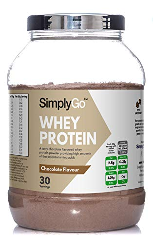 SimplyGo Whey Protein Powder | 900g | Delicious Strawberry, Chocolate, Banana or Vanilla Flavoured Muscle Building Supplement | Simply Add 30g to Water, Juice or Shakes (Chocolate)