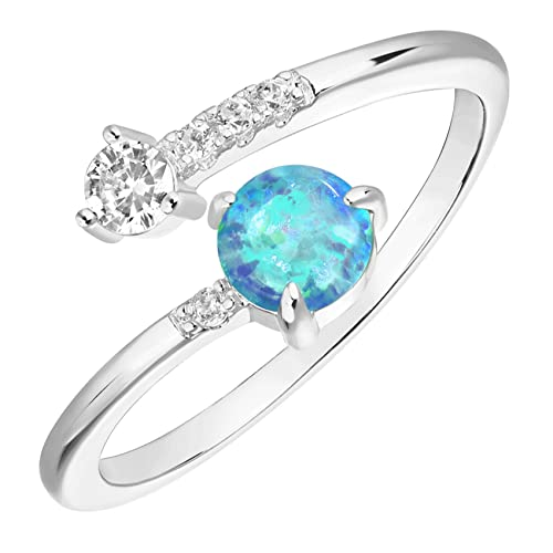 PAVOI 14K White Gold Plated Adjustable Created Blue Opal Rings | Stacking Rings | Gold Rings for Women