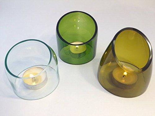 Weinflaschen-Teelicht-Set: Grün + Oliv + Transparent