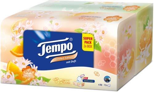 Tempo Taschentücher Duo Box, Duftedition Honigblüte, 2 Taschentuchboxen mit je 70 Tüchern, waschmaschinenfest, 4-lagig, 340 g
