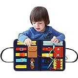 Creacom Lavagna per Bambini Montessori Abilità motorie di Base Scheda attività Abito educativo per Bambini di 1 2 3 4 Anni con Cerniere, Bottoni, Fibbie, trecce