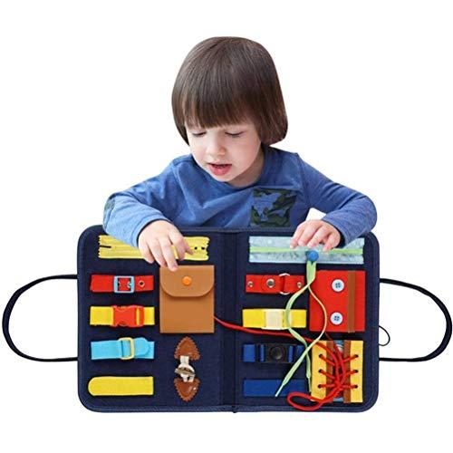Smosyo Tablero Ocupado para niños pequeños Tablero Ocupado para bebés Tablero de Actividades para niños Habilidades motoras básicas Tablero de Actividades Juguetes educativos y sensoriales tempranos