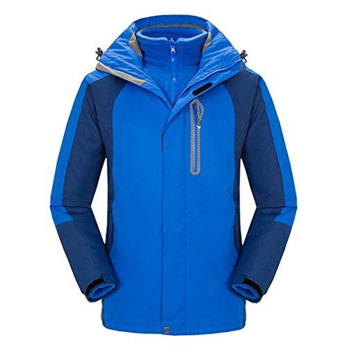 emansmoer Homme 3 en 1 Imperméable Coupe-Vent Capuche Manteau Outdoor Sport Veste de Camping Randonnée Escalade (X-Large, Bleu Clair)