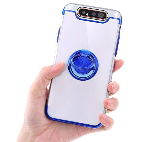 Urhause Coque pour Samsung Galaxy A80 Coque Support de Bague Placage Transparent Souple TPU Silicone Case Cover Cristal Clair Bumper Housse Étui de Protection pour Samsung Galaxy A80,Bleu