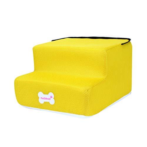 Benbzh Trap voor huisdieren met afneembare en wasbare overtrek, hoge sterkte, 3 treden ladders voor huisdieren, ademend, voor honden en katten, zacht, waterdicht, M, beige