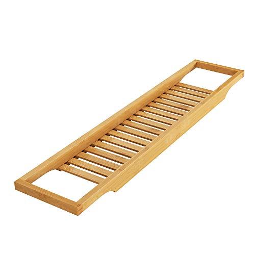 Homfa Bambus Badewannenablage Badewannenbrett Badewannenauflage Badewannentisch Holz Wannenaufsatz als Badewannentablett 74 x 15 x 3,7 cm (Bambus)