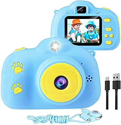 Kids Camera, 1080p Selfie Digital Kids Camera for Boys with 32GB SD Card Rechargeable Battery Children Video Camera Birthday/Christmas/New Year Toy Gifts for 5 6 7 8 9 10 Year Old (Blue-1) by Trofoty