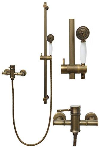 Duschset Brauseset Mischbatterie Dusche Duschsystem Duschbrause Duschkopf Duscharmatur Armatur Antik Dusche Retro
