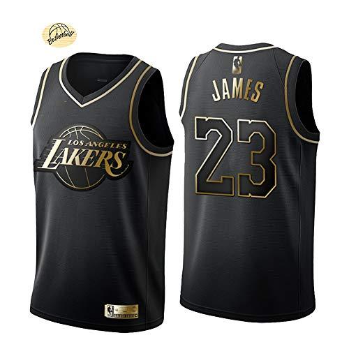 LeBron James #23 Basketball Trikot Los Angeles Lakers Schwarz Gold und Weißgold Version Weste Jugendliche Sommer Outdoor Schnelltrocknend Mesh Sweatshirt (S-2XL) M Schwarz