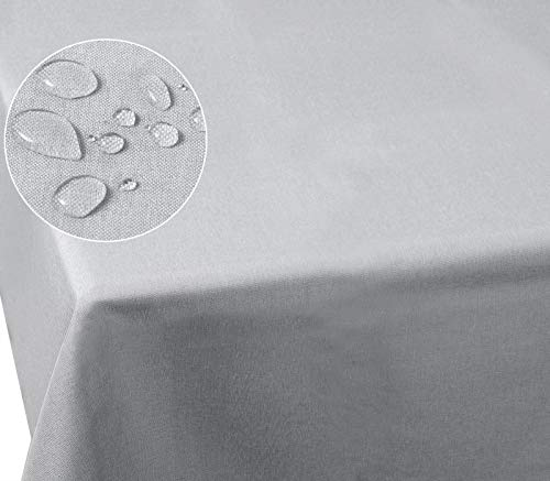 Laneetal 0800038 Tischdecke Leinendecke Leinenoptik Wasserabweisend Lotuseffekt Tischtuch Fleckschutz pflegeleicht abwaschbar schmutzabweisend Eckig 135x200 cm Hellgrau