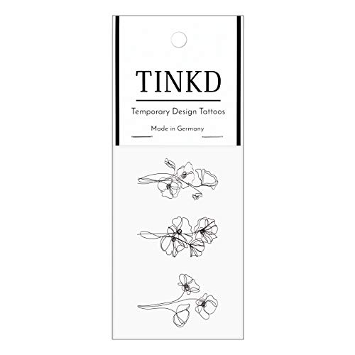 TINKD Oneliner Tattoo Imitation | Single Line Tattoos Blumen | Made in Germany