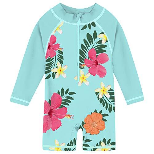 uideazone Little Girls Long Sleeve Sunsuit UPF 50+ Rash Guard Swimsuit Aqua Flower One Piece Swimwear Beachwear 24-36 Months Blue
