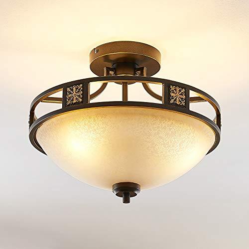 Lindby Deckenlampe 'Ferre' (Landhaus, Vintage, Rustikal) in Braun aus Metall u.a. für Wohnzimmer & Esszimmer (3 flammig, E27, A++) - Deckenleuchte, Lampe, Wohnzimmerlampe