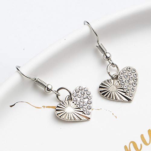 Boucle d'oreille Dangle Shining Heart Shape Dangling Shape Earrings For Women And Girls Wedding Engagement Silver Heart 01