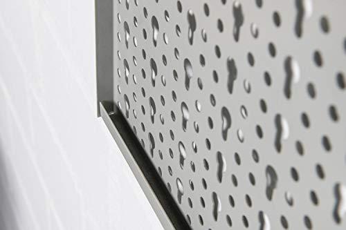 XL Lochblech aus Metall mit Schlüssellochung 25 mm. Pulverbeschichtet in Hellgrau, Stärke ca. 1 mm. Maße 98 x 46 x 1 cm. - 5