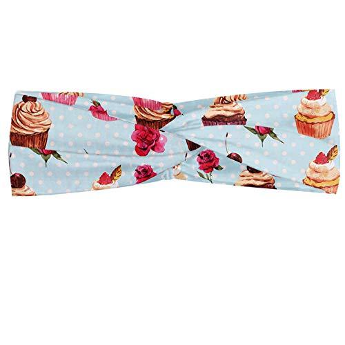 ABAKUHAUS Petit gâteau Bandeau, Saint-Valentin Lovers Muffins Romantique Roses cerise sur fond à pois rétro, Serre-tête Féminin Élastique et Doux pour Sport et pour Usage Quotidien, Multicolore