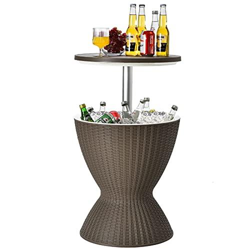 Goplus Tavolino da Bar all'aperto in Stile Rattan, Portaghiaccio per Bottiglie 30L, tavolino da Cocktail con Dispositivo di Raffreddamento per Piscina ed Esterno (Marrone)