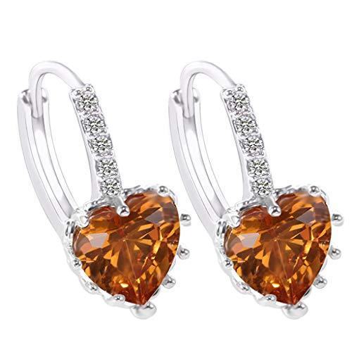 Andouy Damenmode Ohrringe Herzförmiger Zirkon Multi-Color Fashion Einfache Ohrringe...