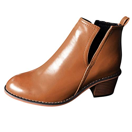 WHSHINE Damen Vintage Chunky Heels Ankle Booties, Slip On Hollow Wedge Chelsea Stiefel Casual Short Boots