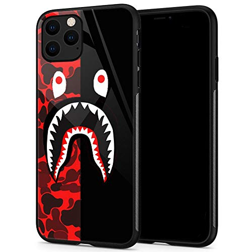 iPhone 11 Case,Shark Face iPhone 11 Cases for Girls Lady Men Boy Shockproof Anti-Scratch Case for Apple Cases for Apple 11 6.1-inch (Red Black Camo)