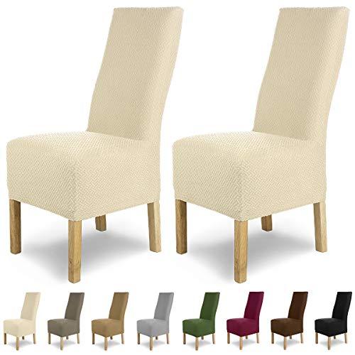 SCHEFFLER-Home Stretch Stuhlhusse Luna-Lang   2er Set elastische Flanell Stuhlabdeckungen   Stuhlhussen Schwingstühle   Spannbezug mit Gummiband   Elegante Stuhlbezüge