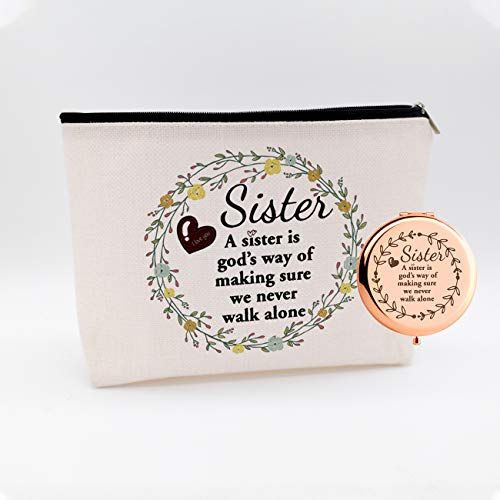 WIEZO-USA A Sister is God'S Way of Making Sure Never Walk Alone,Funny Birthday Christmas for Sister Women Best Friends,Waterproof Cosmetic Bag Makeup Bag and Travel Rose Gold Mirror,Set 2 Pcs