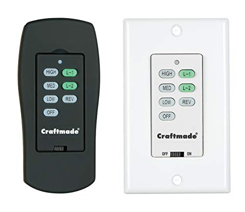 Craftmade CV-ICS-AG, Wall Control with Clamshell Remote, 3 Fan Speeds and Reverse, Aged Bronze Text