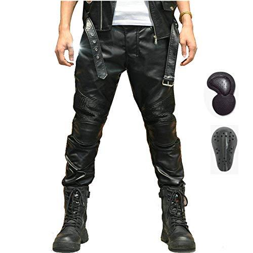 Printemps Et Automne Hommes Moto De Protection Stretch Pantalon En Cuir, Pantalon Droit équitation Imperméable Coupe-vent Moto, Pantalon Anti-chute (XL)