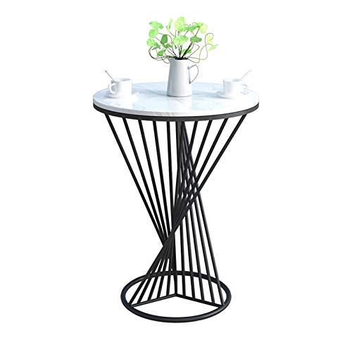 BZ-ZK Tavolino da Balcone, Moderno Tavolino Rotondo in Marmo Tavolino da caffè per Il Tempo Libero da Negoziare Tavolino Decorativo Facile da Pulire, 50 * 50 * 65 Cm(Size:50 * 50 * 65CM,Color:Un)