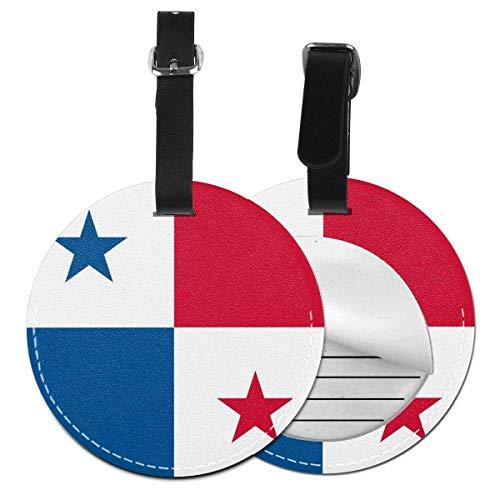 Bandera de Panamá Redonda para Equipaje de Mano, Etiqueta de Equipaje a la Moda, Etiquetas de Equipaje de Mano, Bolsas de privacidad, Negro (Negro) - 4741035986056