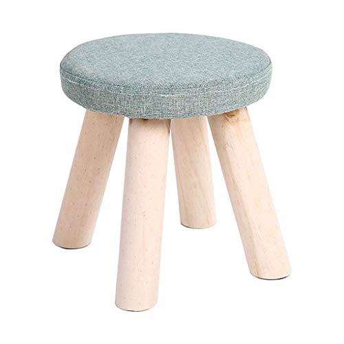 JIAXU Reposapiés otomanos taburete de ocio taburete tapizado puffe redondo hogar simple silla pequeña taburete 4 patas de madera extraíble cubierta de lino