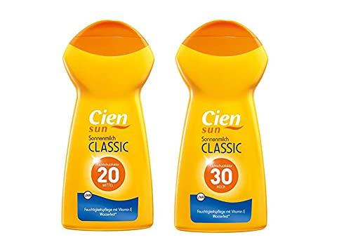 Cien Sun Classic Sonnenmilch Sonnenspray UV Schutz Sonnencreme 2er Set LSF 20/30