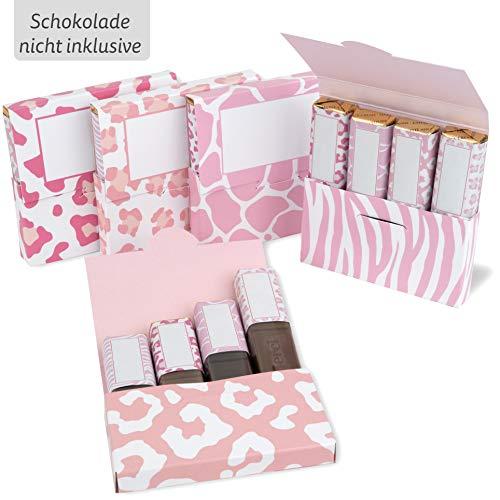 Netti Li Jae ® Aufkleberset für Merci-Schokolade: Das persönliche Dankeschön & kreative Geschenk – für 5 personalisierte Geschenke – persönliche Geschenkidee (Pink Animal)