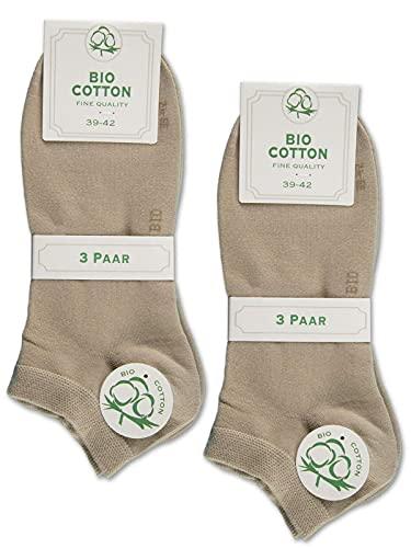6 Paar Sneaker Socken Bio Baumwolle Herren und Damen ohne Naht mit Komfortb& (Beige 39-42)