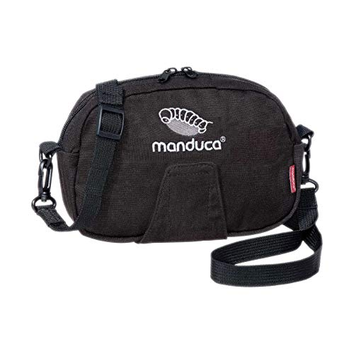 manduca Pouch > HempCotton Black < riemtas, heuptas, schoudertas, bevestiging met klittenband aan de riem/heupgordel, draagriem voor omhangen & voor buiktas, canvas, zwart
