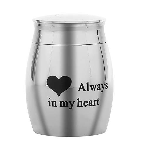 Mini Ashes Urne Silver Memorial Asche Andenken für Haustier,40 * 39mm,Rostfreier Stahl