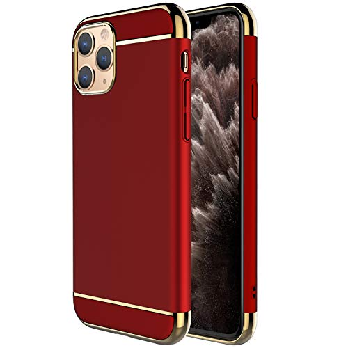 """iPhone 11 Pro Max Case,RORSOU 3 in 1 Ultra Thin and Slim Hard Case Coated Non Slip Matte Surface with Electroplate Frame for Apple iPhone 11 Pro Max (6.5"""")(2019) - Red and Gold"""