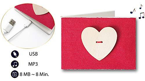 PlayMegram bespielbare Audio-Grußkarte mit USB, Eigene Musik oder Sprachnachricht, Jeansoptik mit Herzknopf, Musik-Karte, Liebesgrußkarte, Glückwunschkarte, Kreative Geschenkkarte
