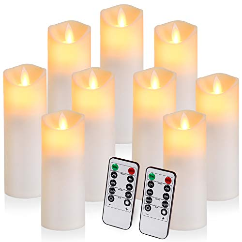 """Mejor DRomance Outdoor Flameless Flickering Candles Waterproof and Heat Resistant, Warm Light Battery Operated LED Pillar Candles with Timer and Remote Set of 3(White, 3""""D x 4""""5""""6""""H) crítica 2020"""