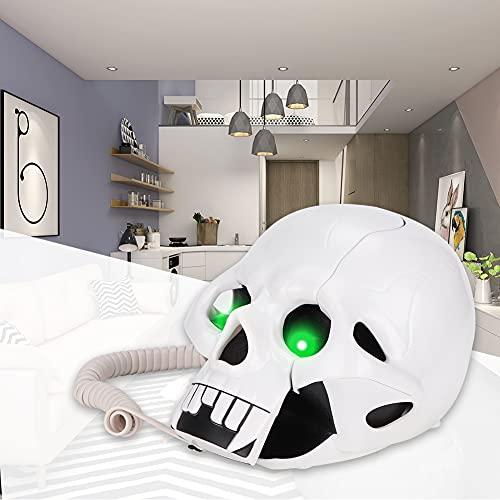 Exliy Único teléfono Black Skull Skeleton, Estilo Moderno y novedoso, Sonido, la Voz de Llamada es Clara(White)