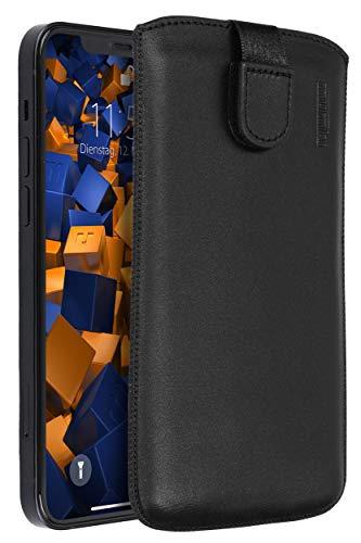 mumbi Echt Ledertasche kompatibel mit iPhone 12 / iPhone 12 Pro Hülle Leder Tasche Case Wallet, schwarz Euti