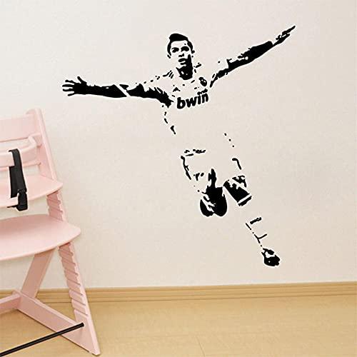 ahliwei Pegatinas de Pared Jugador de fútbol Ronaldo Sala de Estar Dormitorio Fondo Decoración Etiqueta