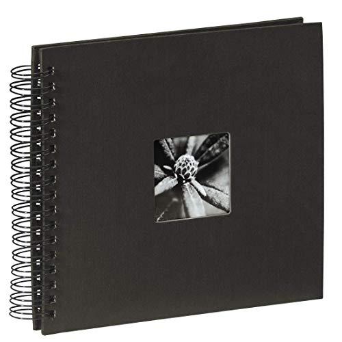 Hama Fotoalbum 28x24 cm (Spiral-Album mit 50 schwarzen Seiten, Fotobuch mit Pergamin-Trennblättern, Album zum Einkleben und Selbstgestalten) schwarz