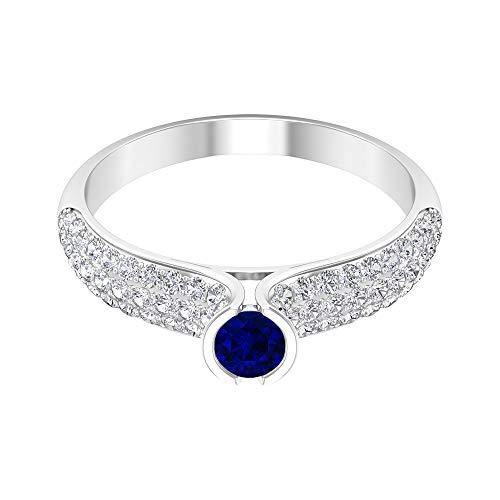 Piedra de nacimiento de septiembre - 4,00 mm solitario anillo zafiro azul, anillo de clúster de diamantes HI-SI, anillo de bisel de oro (calidad AAA), 14K Oro blanco, Size:EU 48