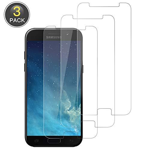 Wiestoung Panzerglas Schutzfolie für Samsung Galaxy A5 2017 [3 Stück] 9H gehärtetes Glas mit Anti-Kratzer Bläschenfrei Ultra Transparent Full HD Panzerglasfolie Displayschutzfolie für Samsung A5 2017