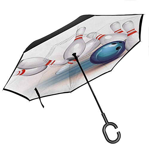 Bowling Party Portable Reverse Umbrellas Thrown Ball and Scattered Pins Speed Hit The Target Shot Score Upside Down UV Protection Windproof Windproof UV Protection Umbrella, White Pale Blue Red