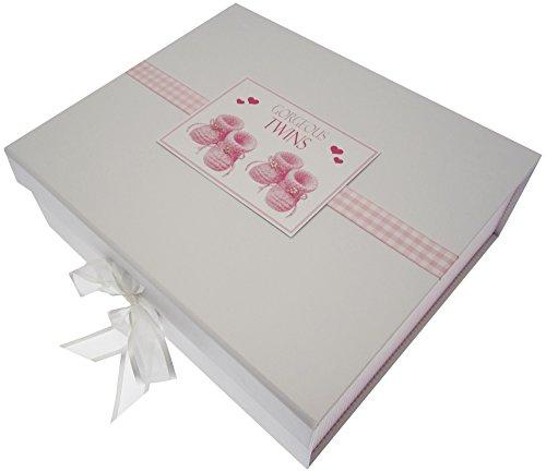 White Cotton Cards Gorgeous Twins, grande boîte souvenir, chaussons, Rose