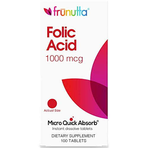 Frunutta Folic Acid Under The Tongue Instant Dissolve Tablets - 1000 mcg x 100 Tablets - Dietary Supplement, Made in USA - Non-GMO, Gluten Free